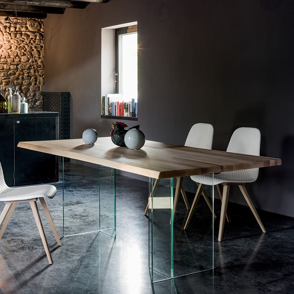 Basilio tavolo dall 39 agnese in vetro con piano in frassino massello fisso 200 x 100 cm - Sedie per tavolo in vetro ...
