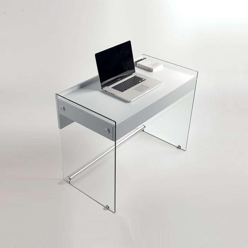Mydesk Glass Writing Desk With White Laminated Table Top