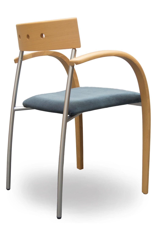 equinox designer stuhl von tonon mit holz und metallgestell gepolsterter sitz mit stoffbezug. Black Bedroom Furniture Sets. Home Design Ideas