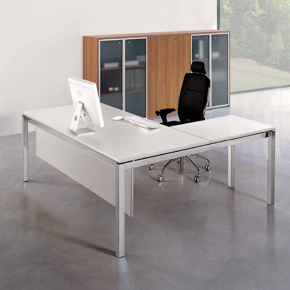 office x4 02 bureau professionnel avec retour secr taire pi tement en m tal et plateau en. Black Bedroom Furniture Sets. Home Design Ideas