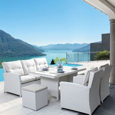 Brembo Set - Garden set in synthetic rattan: 2 armchairs, 1 sofa, table, 2 poufs