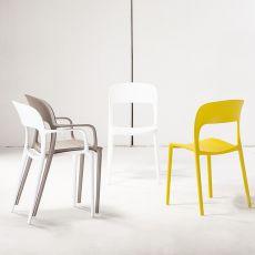 TT1068 REP - Chaise empilable en polypropylene et fibre de verre, disponible en différentes couleurs, aussi pour l'extérieur, avec ou sans accoudoirs