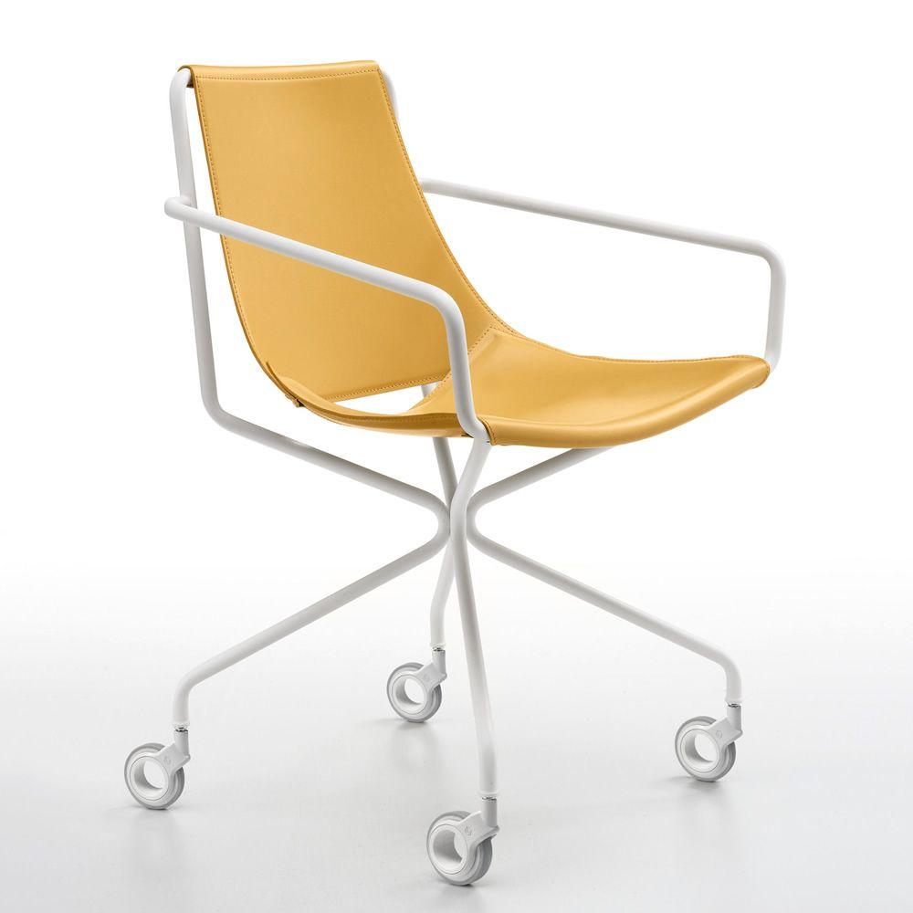 Sedia Cuoio Braccioli Metallo Silvy Midj : Apelle d sedia midj in metallo seduta cuoio anche