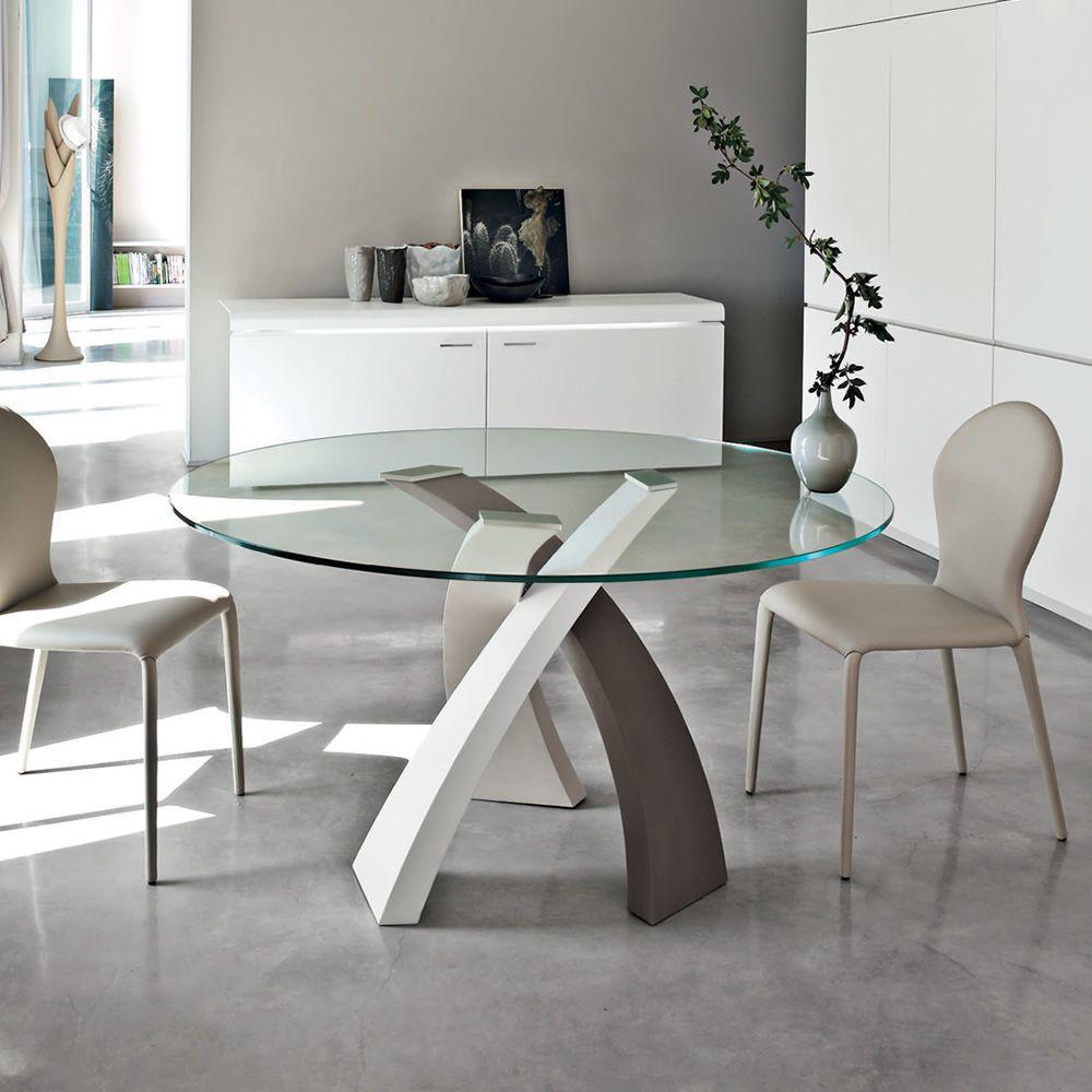 Eliseo 8028 tonin casa metal table with glass top for Mesas redondas de comedor