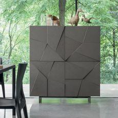Concrete-L - Mobile soggiorno Dall'Agnese in metallo e impiallacciato, quattro ante, diversi colori disponibili