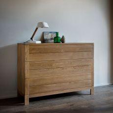 Azur-D - Commode Ethnicraft en bois, avec 3 tiroirs