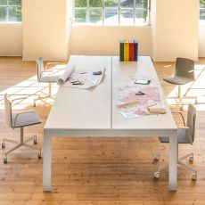 Matrix desk - Pedrali work station or meeting table, in aluminium with laminate top, available in different dimensions and colours