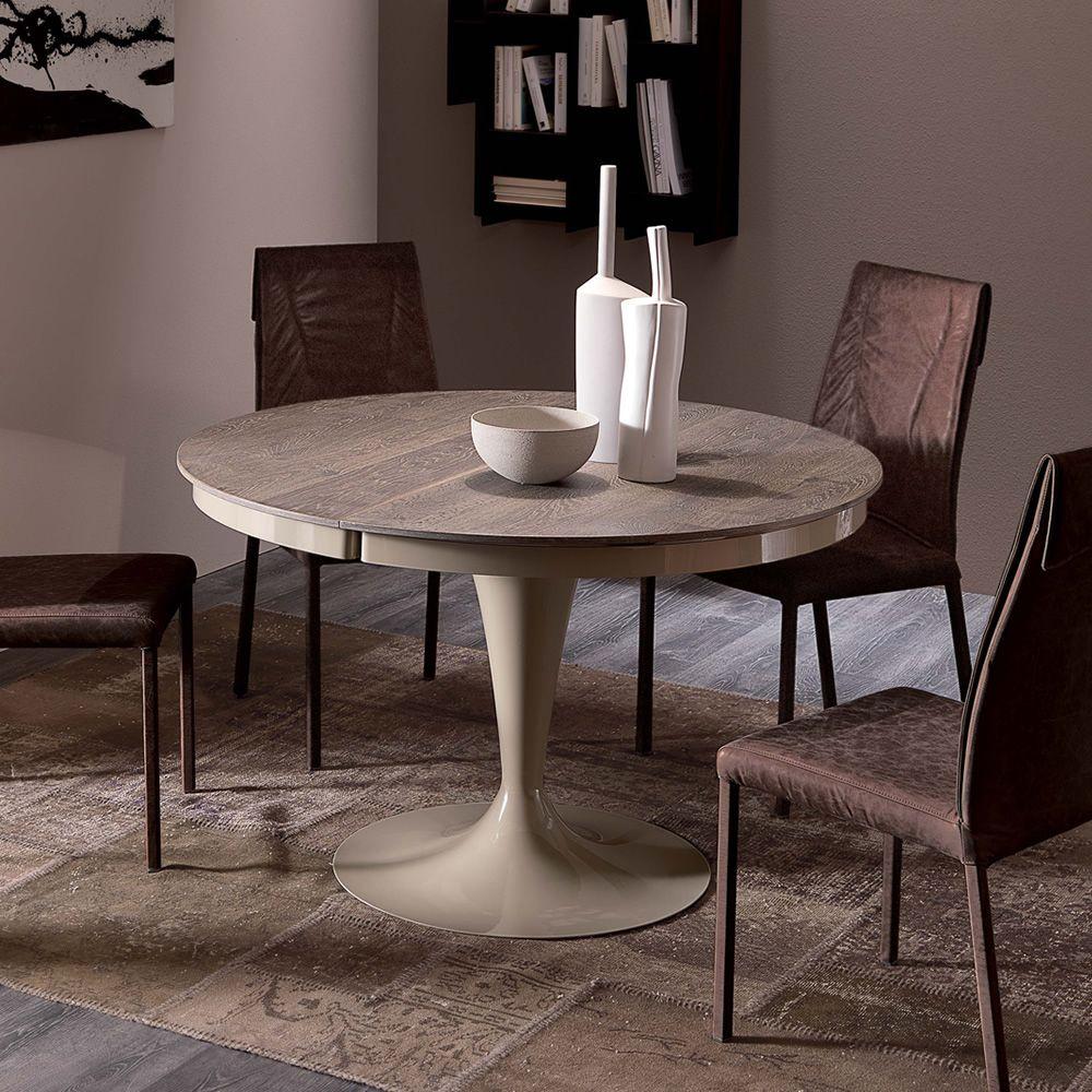 Eclipse l tavolo moderno in metallo piano in legno for Tavolo tondo allungabile moderno