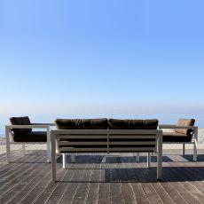Kit esterno 25 - Set da esterno con struttura in alluminio: divano, 2 poltrone e tavolino