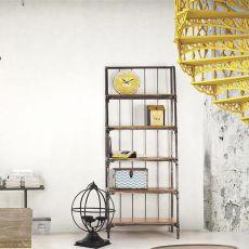 Accra Shelf - Scaffale o libreria stile industriale, in metallo con piani in legno