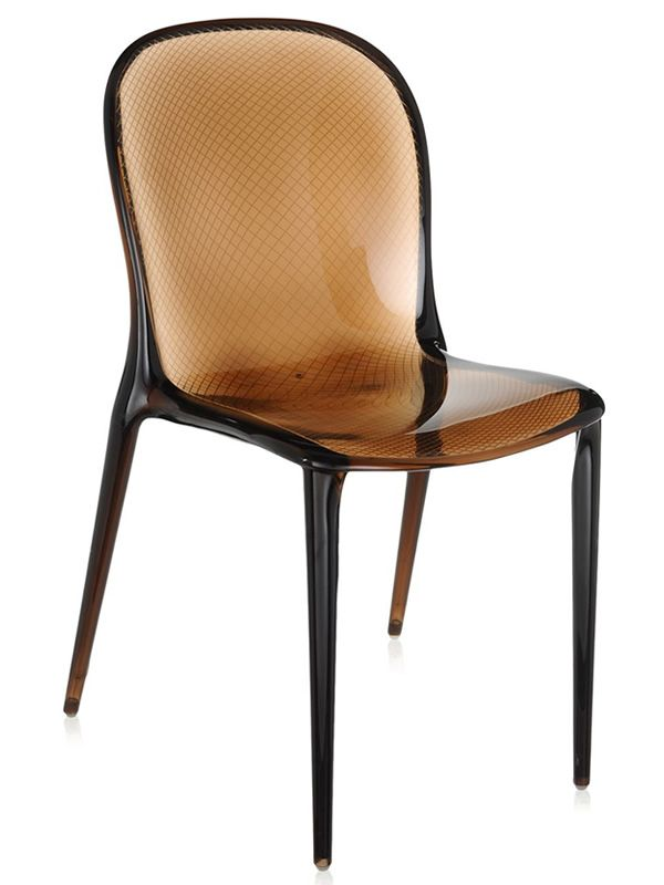 Thalya sedia kartell di design marrone for Sedia design marrone