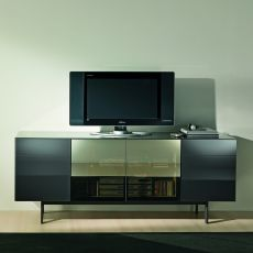 Aly 103 - Contemporary sideboard Bontempi Casa, in wood and glass, with doors and drawers, available in different colours