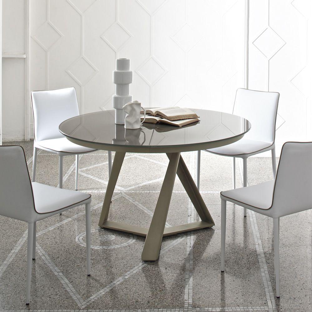 Millennium o ext mesa redonda de dise o bontempi casa de for Mesa redonda de cristal extensible