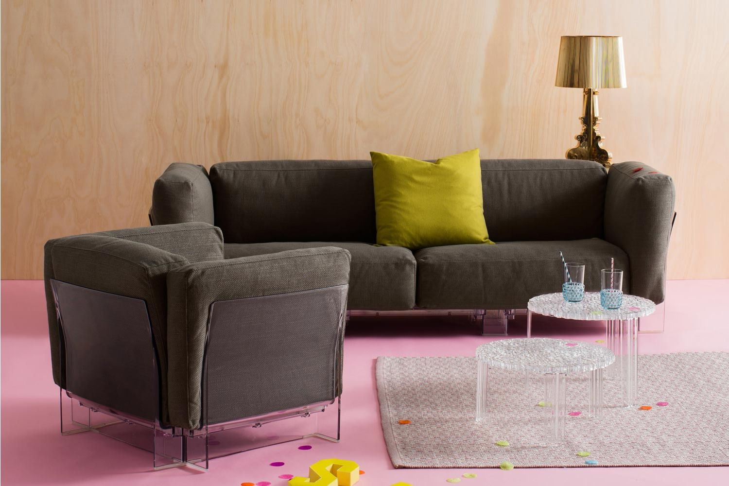 Pop Duo Sofa   Sofa With Transparent Polycarbonate Structure And Cushions  Covered In Grey Nilo Fabric ...