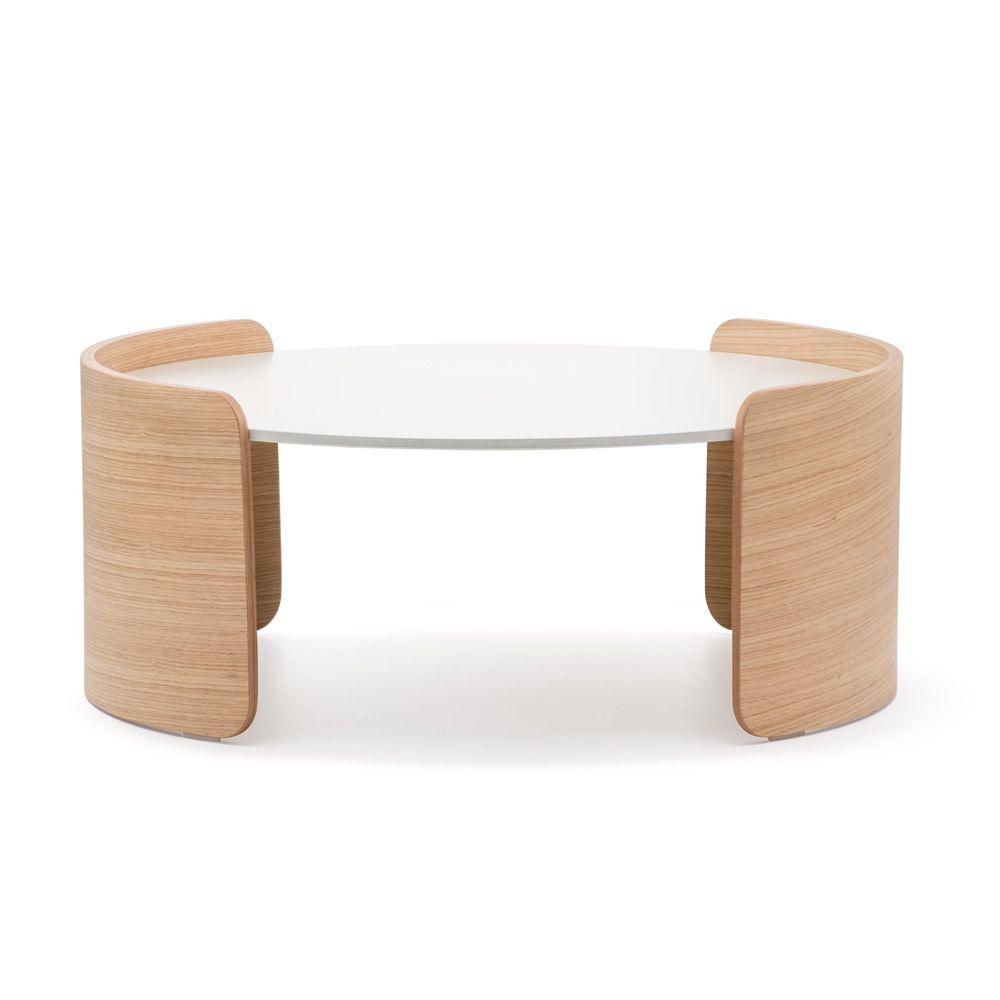 Parenthesis b table basse pedrali ovale ou ronde en bois de ch ne et plate - Table basse ronde ou ovale ...