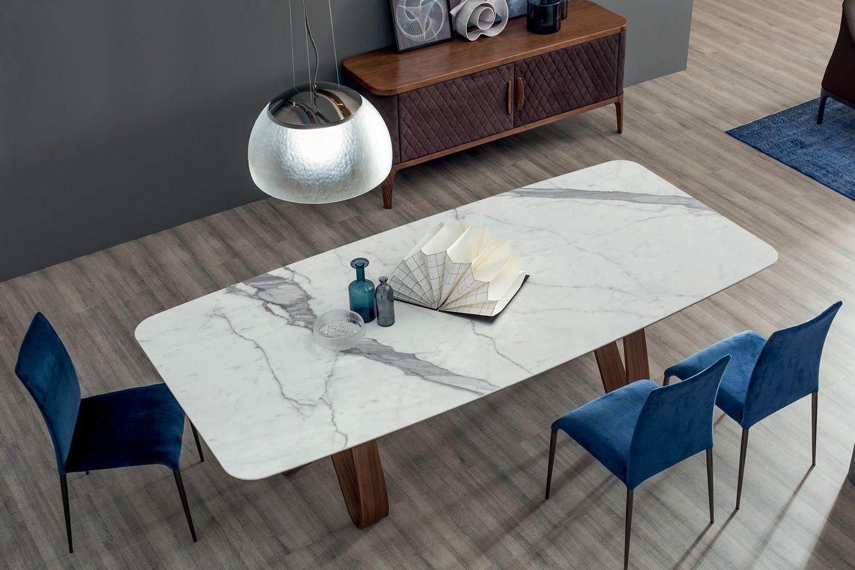Butterfly 8070 l feststehender tisch tonin casa aus holz for Carrara marmor tisch