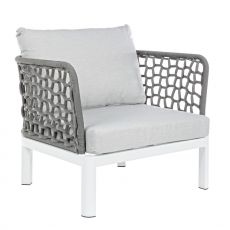 Zante - Aluminium armchair with acrylic straps, cushions with removable covering