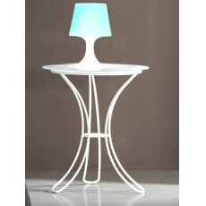 Fiocco - Table de nuit en fer avec plan de travail rond en verre, en différentes couleurs