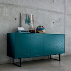 Fiamma - Dall'Agnese sideboard made of metal and veneered wood, different colours available, four doors