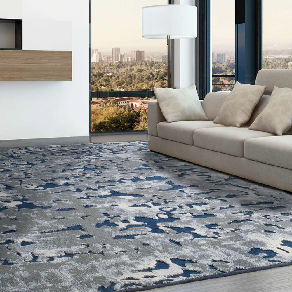 Gallery of genova tappeto moderno versione colore blu with for Top tappeti