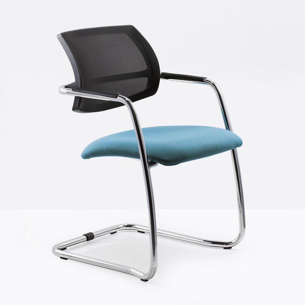Ml133 slitta sedia cantilever per sala d 39 attesa con schienale in rete e seduta imbottita - Sedia cantilever ...