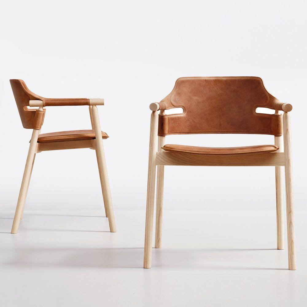 Sedie Design Legno E Pelle.Suite Midj Wooden Armchair With Hide Seat Sediarreda Com