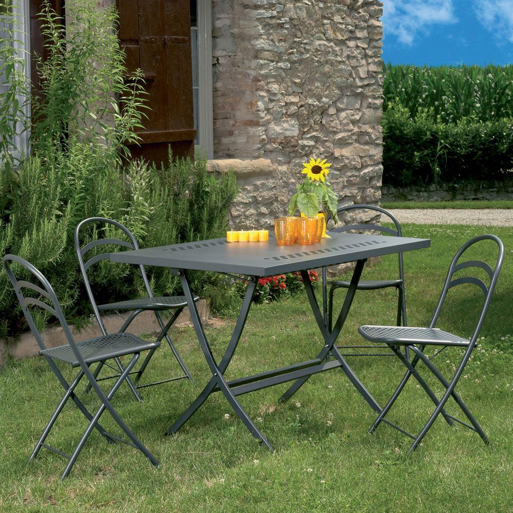 rig73 klappbarer tisch aus metall in verschiedenen gr en verf gbar f r garten sediarreda. Black Bedroom Furniture Sets. Home Design Ideas
