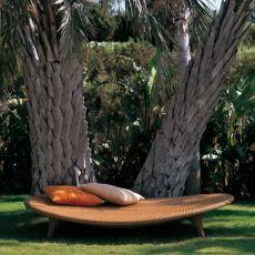 Elitre - Tumbona relax de metal y ratán sintético Emu, para jardín