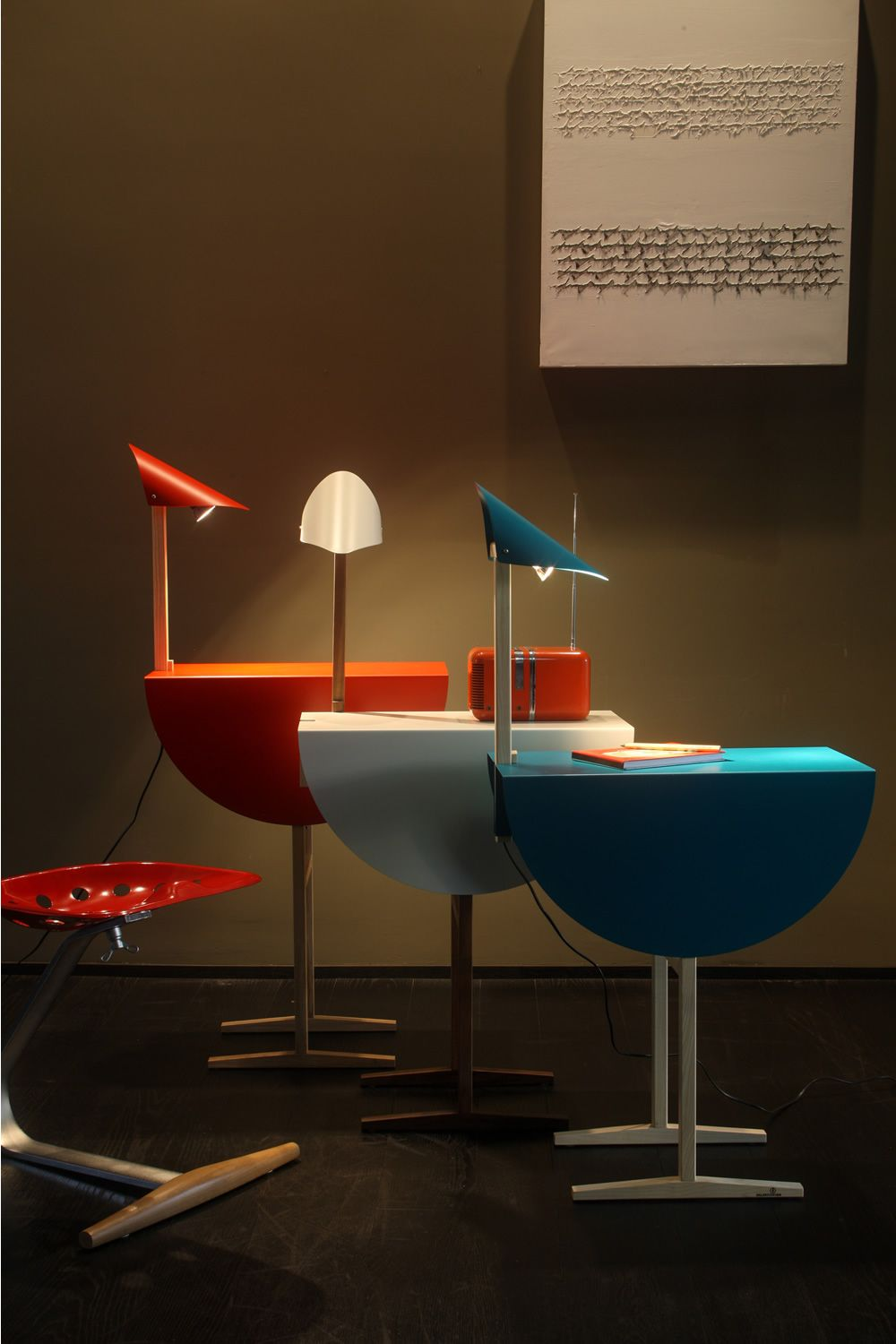 ostrich: valsecchi coffee table-night stand made of wood and metal Night Stand with Built in Lamp