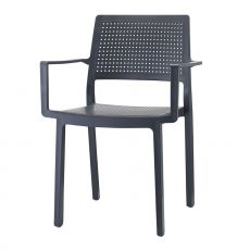 Emi 2342 - Technopolymer bar chair, with armrests, stackable, available in several colours, for outdoor