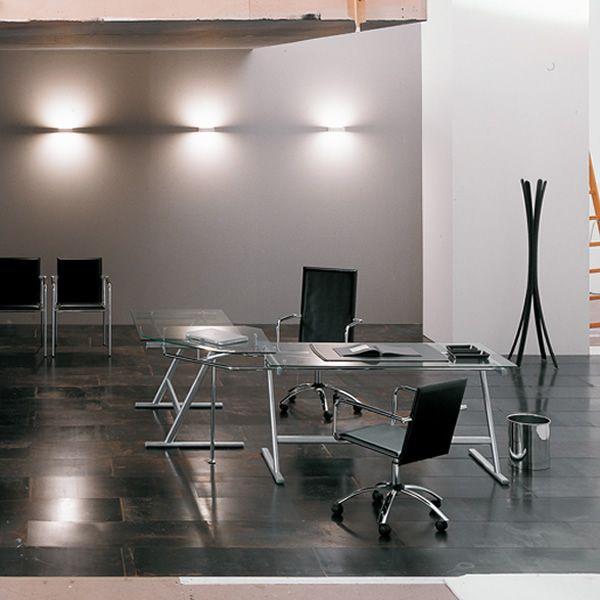 Drive scrivania midj da ufficio in metallo e vetro for Scrivania vetro ufficio