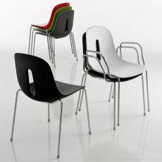 Gotham - Sedia impilabile Chairs&More, in metallo e poliuretano, disponibile in diversi colori, con o senza braccioli