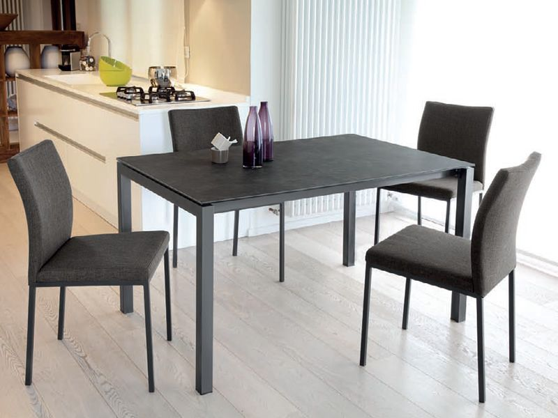 web 140 table domitalia en m tal plateau en m lamin verre ou c ramique 140 x 90 cm. Black Bedroom Furniture Sets. Home Design Ideas