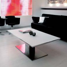 E-motion - Tavolo trasformabile in metallo, piano in cristallo 120x74 cm, allungabile, disponibile in diversi colori