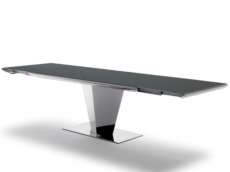 Diamante tavolo moderno in metallo piano in cristallo for Tavolo in cristallo moderno