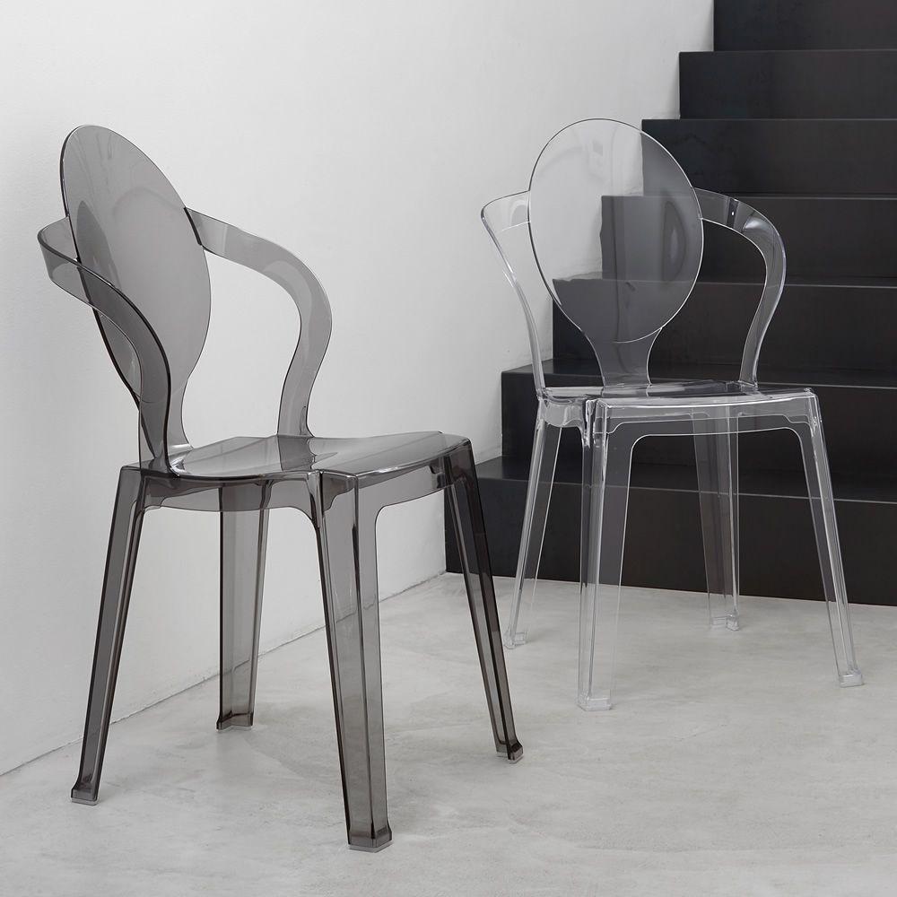 Spoon 2332 chaise design en polycarbonate empilable aussi pour jardin - Chaise design polycarbonate ...