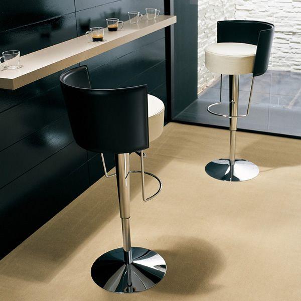 Bongo cu sgabello midj di design schienale in cuoio for Sgabelli di design