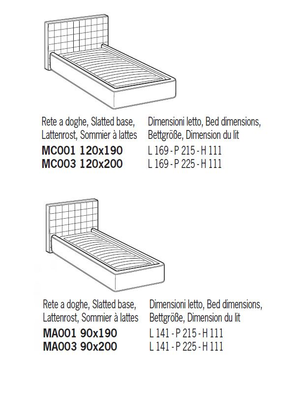 Biella cama de matrimonio acolchada distintas tapicer as for Medidas para cama individual