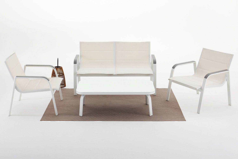 Sans souci set para exteriores en aluminio y textilene for Sofa exterior aluminio blanco