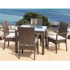 Sesia P - Armchair in synthetic rattan, stackable, with cushion
