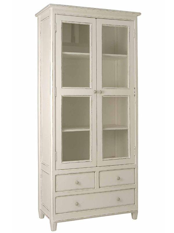 Grilla - vetrina in legno con tre cassetti, 90x38 cm, altezza 185 cm ...