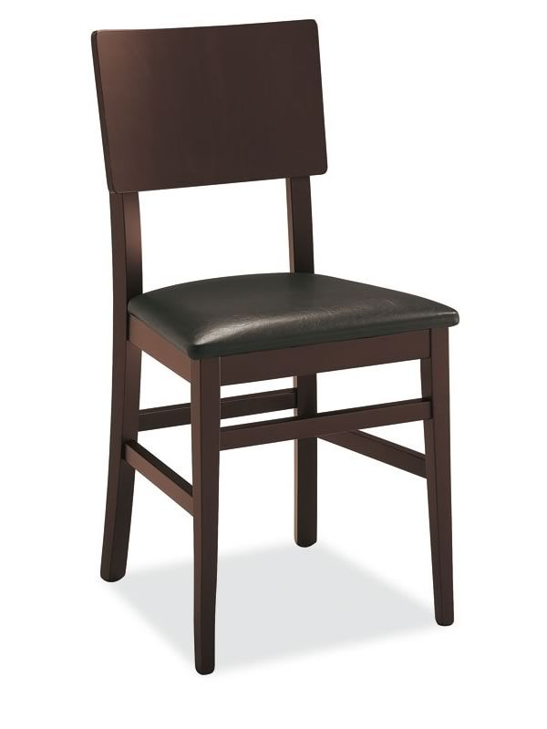 501 - Sedia in legno con seduta imbottita, rivestimento ...