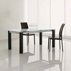 Taliedo 8015 - Tonin Casa table with legs covered with leather and glass top, 130 x 85 cm extendable