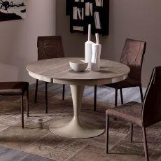 Eclipse L - Tavolo moderno in metallo, piano in legno diametro 118 cm, allungabile, disponibile in diversi colori