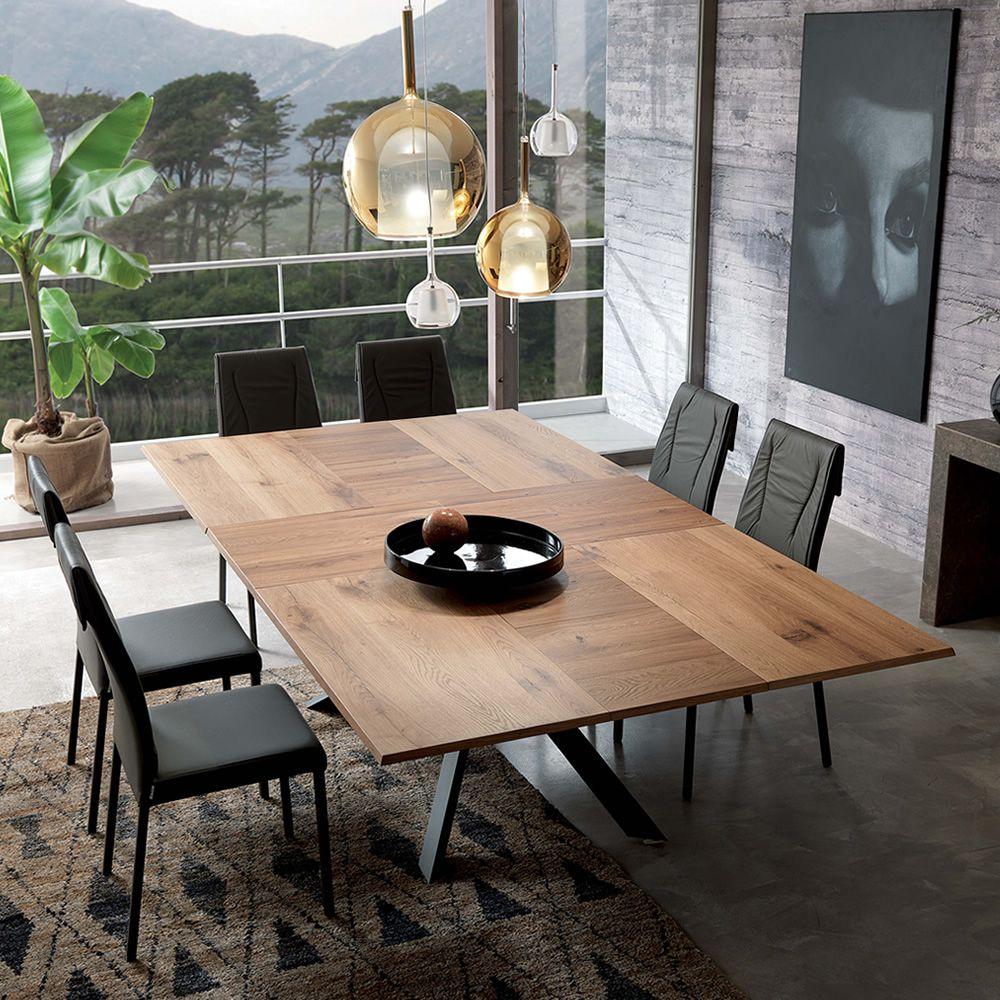 4x4 tavolo moderno in metallo piano in legno for Tavolo allungabile moderno