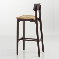Cacao Soft SG - Designer stool Chairs&More, in wood with padded seat, available in different colours, seat height 65 or 80 cm