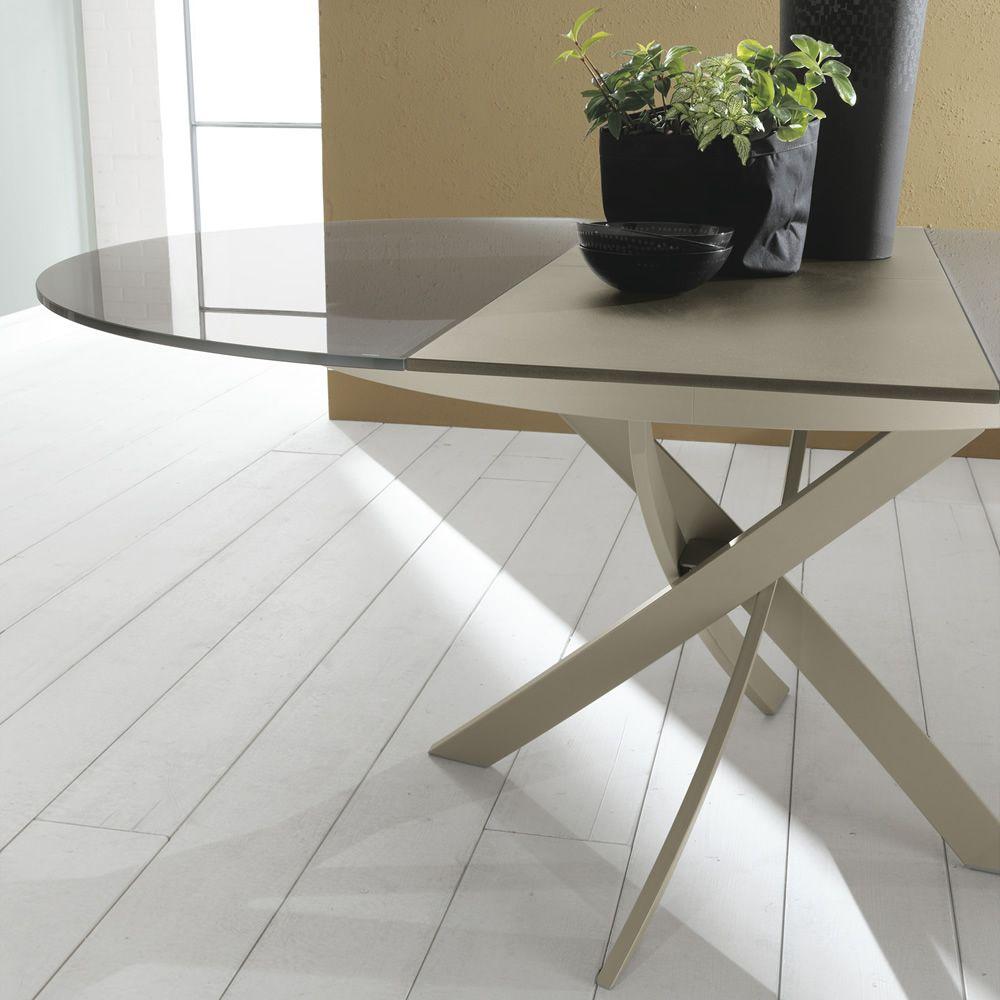 Barone ext mesa redonda de dise o bontempi casa de for Mesa redonda de cristal extensible