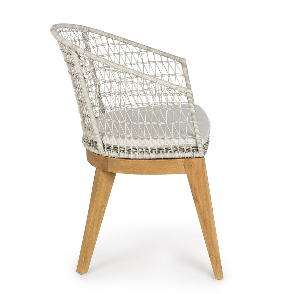 milo fauteuil en teck assise en entrelacement de fibres. Black Bedroom Furniture Sets. Home Design Ideas