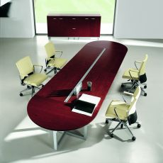 Zeta-X Shut Meet - Boardroom table, in metal and wood veneer, available in different dimensions and finishes