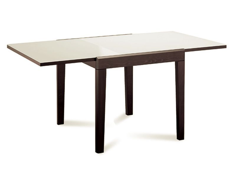 Asso 90 domitalia table in wood glass top 90x90 cm for Table 90 extensible